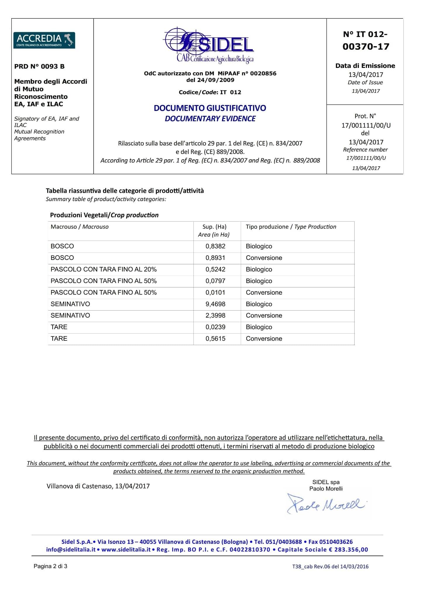 Certificazione bio produzione cereali e legumi