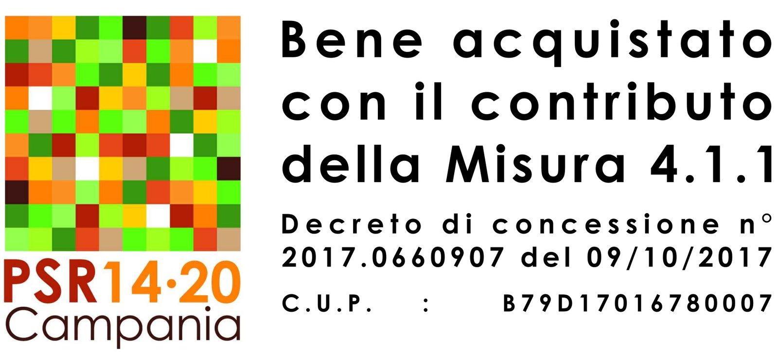Bene acquistato con il contributo della misura 4.1.1 PSR 14/20 Campania